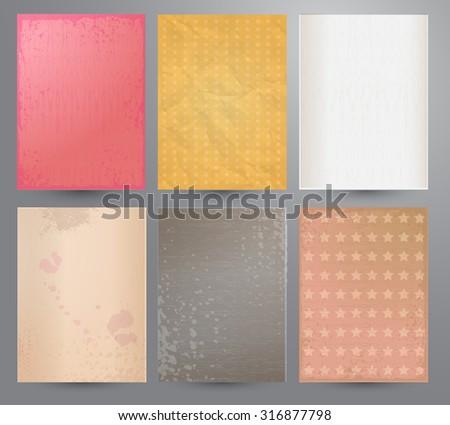 Scrap booking set. Old paper textures. - stock vector