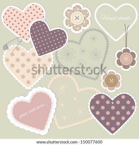 Scrap booking set with hearts and buttons.  - stock vector