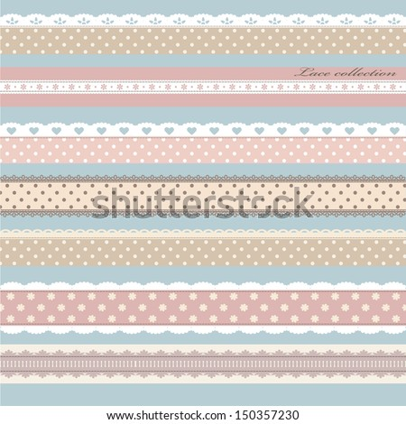 Scrap booking set with straight lace sewn on to the fabric. Vector illustration. - stock vector