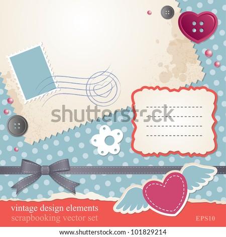scrap-booking vector set, vintage design elements - stock vector