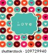 Scrap card with hearts and frame, love template background - stock vector