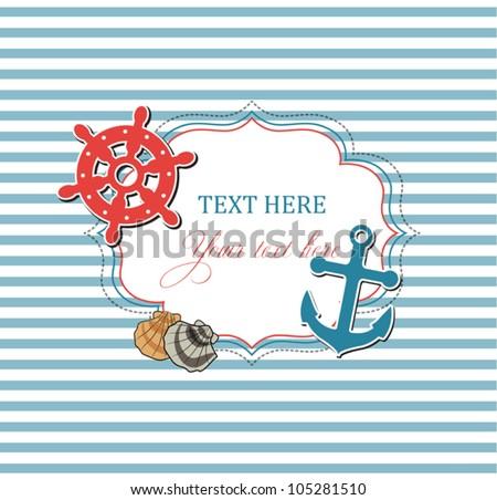 Scrap nautical card with frame, anchor,wheel and seashells - stock vector