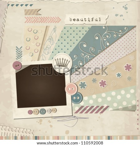 Scrap template of vintage worn distressed design with blank space for your photo - stock vector