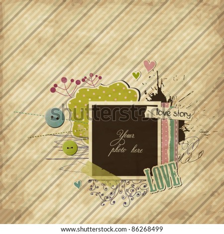 Scrap template with elements and photo-frame - stock vector