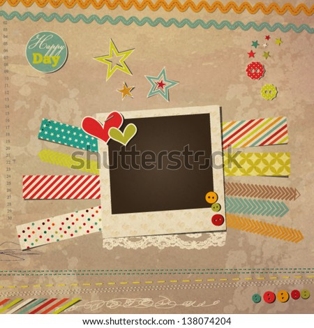 Scrap template with photo frame, vintage design - stock vector