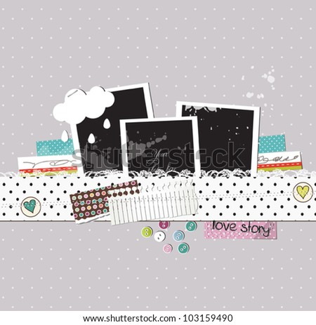 Scrap template with photo frames - stock vector