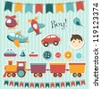 Scrapbook baby boy set - stock photo