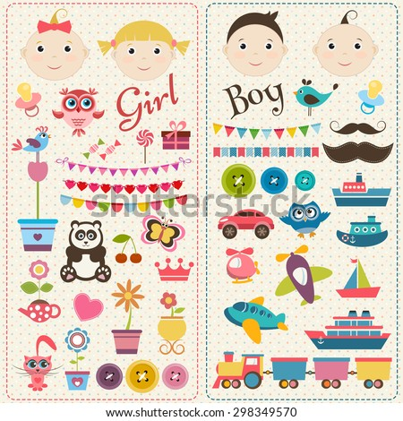 Scrapbook boy and girl set - stock vector