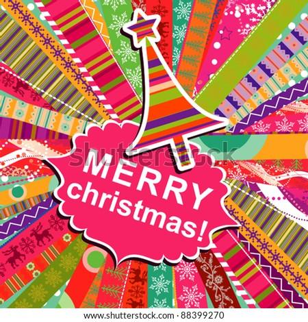 Scrapbook christmas patterns greeting card for design, vector illustration - stock vector