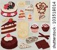 Scrapbook collage for sweet vector elements - stock vector