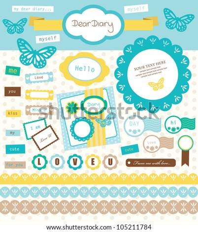 scrapbook collection. vector illustration - stock vector