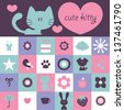 Scrapbook design cute kitty and various elements - stock vector