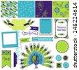 Scrapbook Design Element - Peacock Theme - in vector - stock vector