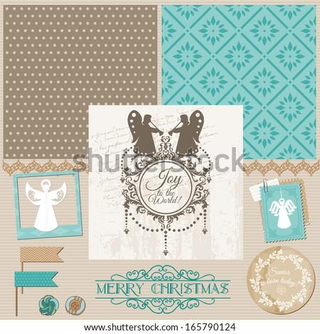 Scrapbook Design Element - Vintage Christmas Angel Set - in vector - stock vector