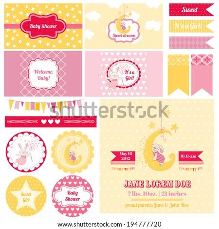 Scrapbook Design Elements - Baby Shower Bunny Theme - in vector - stock vector