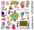 Scrapbook Design Elements - Back to School - for design and scrapbook in vector - stock vector