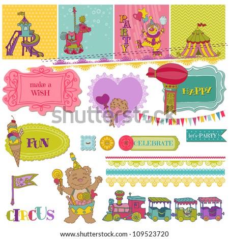 Scrapbook Design Elements - Birthday Party Child Set - in vector - stock vector