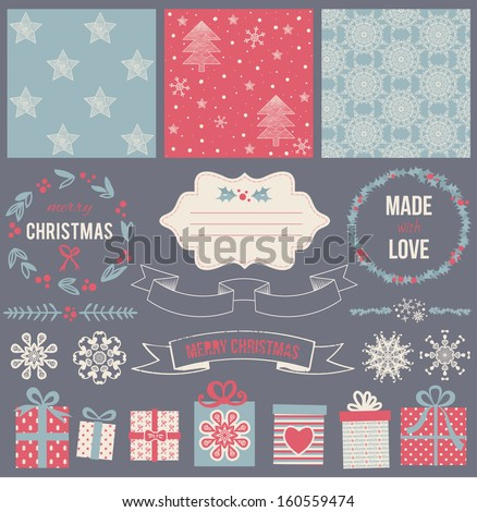 Scrapbook Design Elements: Christmas decorations, photo frames, ribbon, label, deer head, arrows and set of 3 cute backgrounds. For design or scrap booking. - stock vector