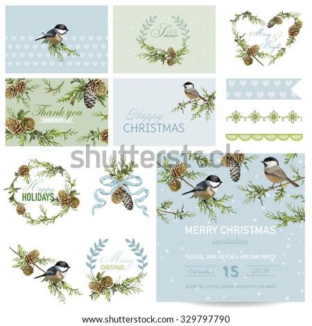 Scrapbook Design Elements - Christmas Theme - in vector - stock vector