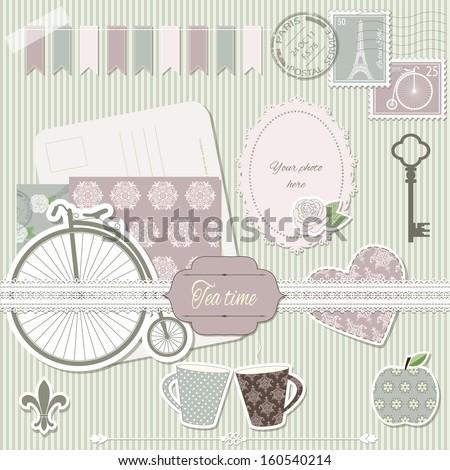 Scrapbook design elements collection - postcard, stamps, paper cut heart, rose, retro bike, cups, apple, key, photo frame, lace, elegant pattern background. - stock vector