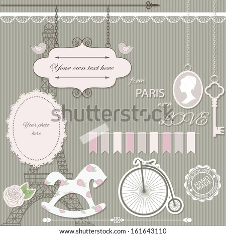 Scrapbook design elements collection - vintage signboard with birds, Eiffel tower silhouette, rocking horse, paper cut rose, photo frame, retro bike, lace, stamp, key, cameo, garland. - stock vector