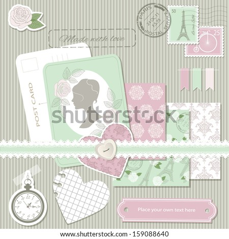 Scrapbook design elements - postcard, stamps, paper cut hearts, rose, pocket watch, frame, lace, button, three elegant seamless pattern background. Easy to use. - stock vector