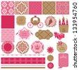 Scrapbook Design Elements - Princess Girl Birthday Set - in vector - stock vector