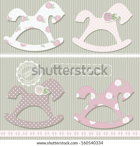 Scrapbook design elements - rocking horses in shabby chic style, straight lace and stamps. - stock vector