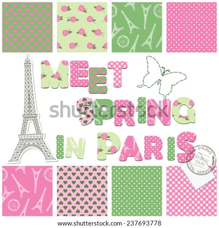 Scrapbook design elements - seamless textile patterns, letters, eiffel tower, stamp, stitching butterfly.  - stock vector