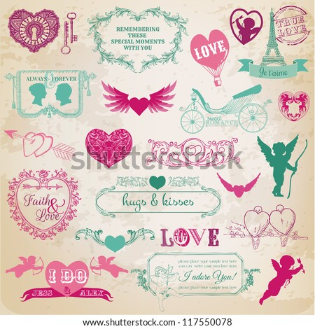 Scrapbook Design Elements - Valentine's Day Love Set - for wedding, invitation, scrap - in vector - stock vector