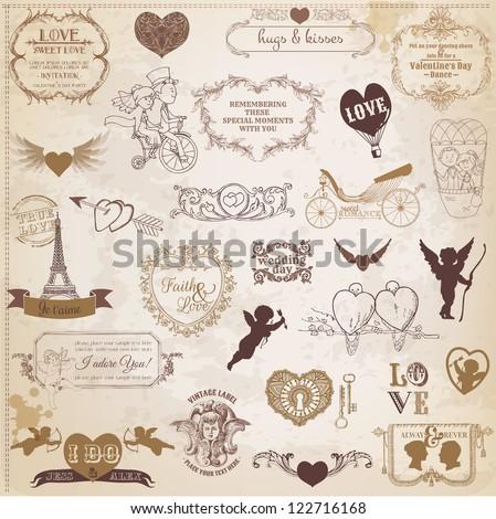 Scrapbook Design Elements - Valentine's Day Love Set - for wedding, invitation, scrap - in vector - stock vector
