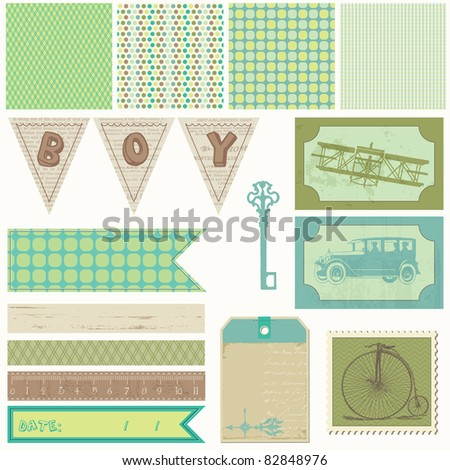 Scrapbook design elements - Vintage Boy Set - stock vector