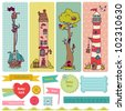 Scrapbook Design Elements - Vintage Child Set - in vector - stock vector