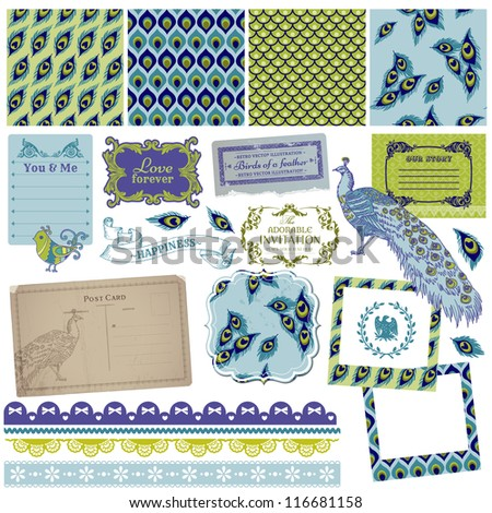 Scrapbook Design Elements - Vintage Peacock Feathers - in vector - stock vector