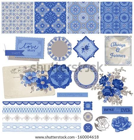 Scrapbook Design Elements - Vintage Porcelain and Flower Set - in vector - stock vector