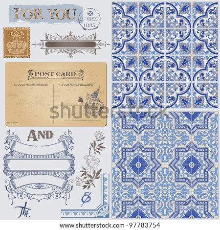 Scrapbook Design Elements - Vintage Postcard with Seamless Victorian Backgrounds in vector - stock vector