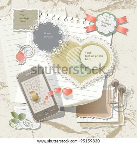Scrapbook elements in vintage stile - stock vector