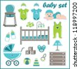 Scrapbook elements with baby boy things.vector - stock vector