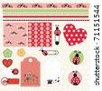 scrapbook elements with ladybug - stock vector