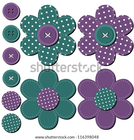 scrapbook flowers on white background - stock vector