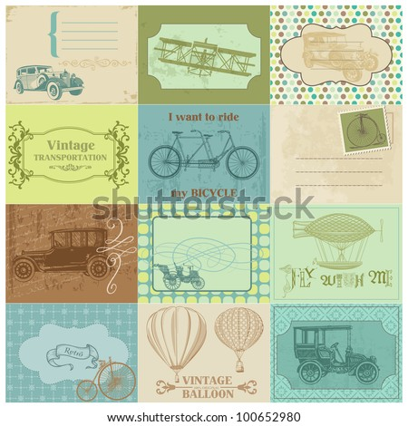 Scrapbook Paper Tags and Design Elements - Vintage Transportation in vector - stock vector