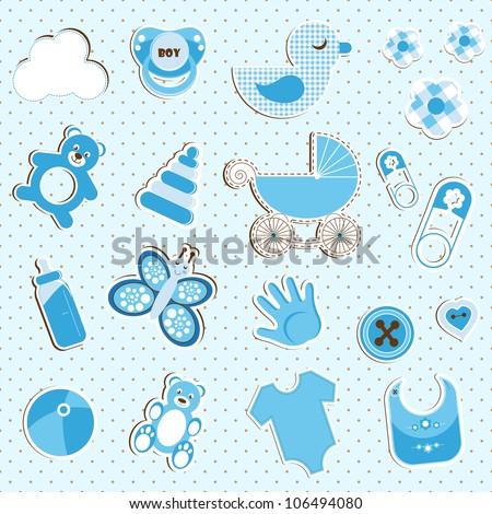 scrapbook set of baby boy things - stock vector