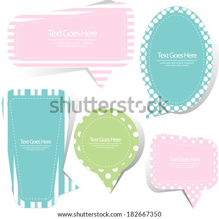 scrapbook speech bubble set - stock vector