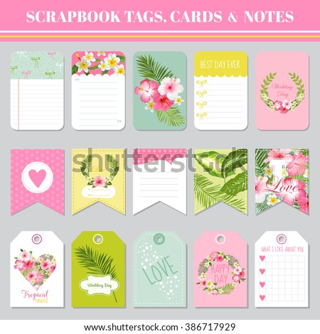 Scrapbook Tags Cards Notes Birthday Baby Stock Vector 386717929