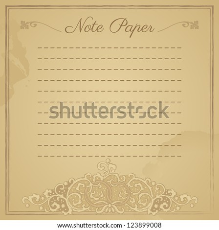 Scrapbook vintage lined notepaper - stock vector