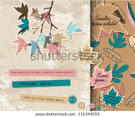 Scrapbooking set about autumn. Vector illustration EPS10 - stock vector