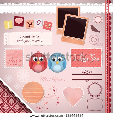 Scrapbooking Set: I Love You - cartoon birds, frames, ribbons, dividers, notes and decorations - stock vector