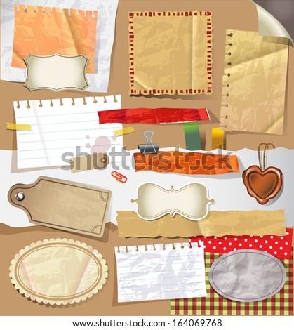 Scrapbooking set. old paper textures - stock vector