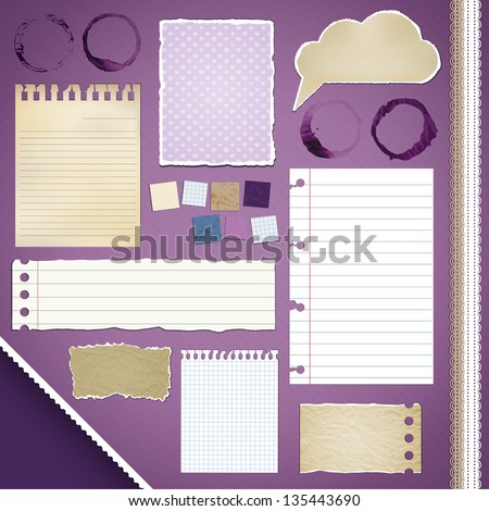 Scrapbooking Set: Torn Papers, coffee stains, ribbons - stock vector