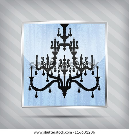 scratched blue icon with silhouette of chandelier on the striped background